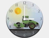 Green Steamroller Clock by Brett Blumenthal - White / White