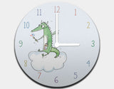 Dragon Painter Clock by Julie Parker - White / White