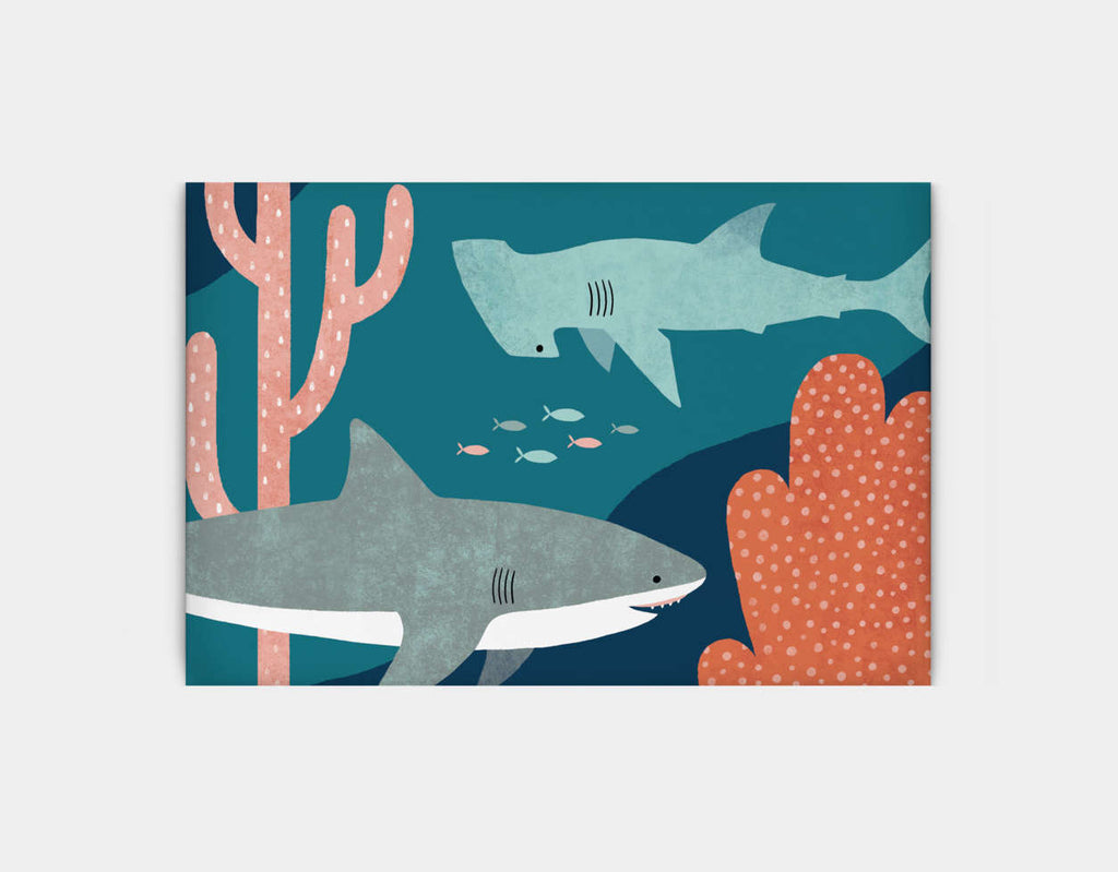 Silly Sharks Canvas Print by Emily Dove - Large