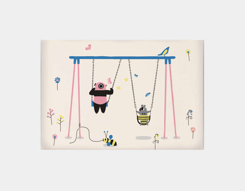Happy Play Swings Canvas Print by Sue Downing - Large