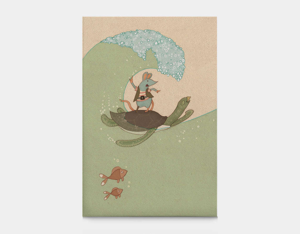 Surfing Pirate-Style Canvas Print by Alexandra Ball - Large