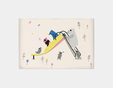 Happy Play Slide Canvas Print by Sue Downing - Large