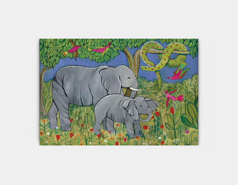 Jungle Elephants Canvas Print by Jenny Reynish - Large