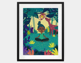 Lotus Pose Framed Art by Alexandra Petracchi - Large / Black