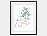 Jumping Dragon Framed Art by Julie Parker - Large / Black