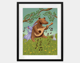 Bear's Jam Session Framed Art by Julia Collard - Large / Black