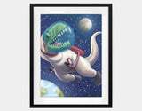 Spacewalk Rex Framed Art by Barry Gott - Large / Black