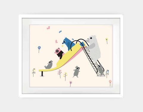 Happy Play Slide Framed Art by Sue Downing - Large / White