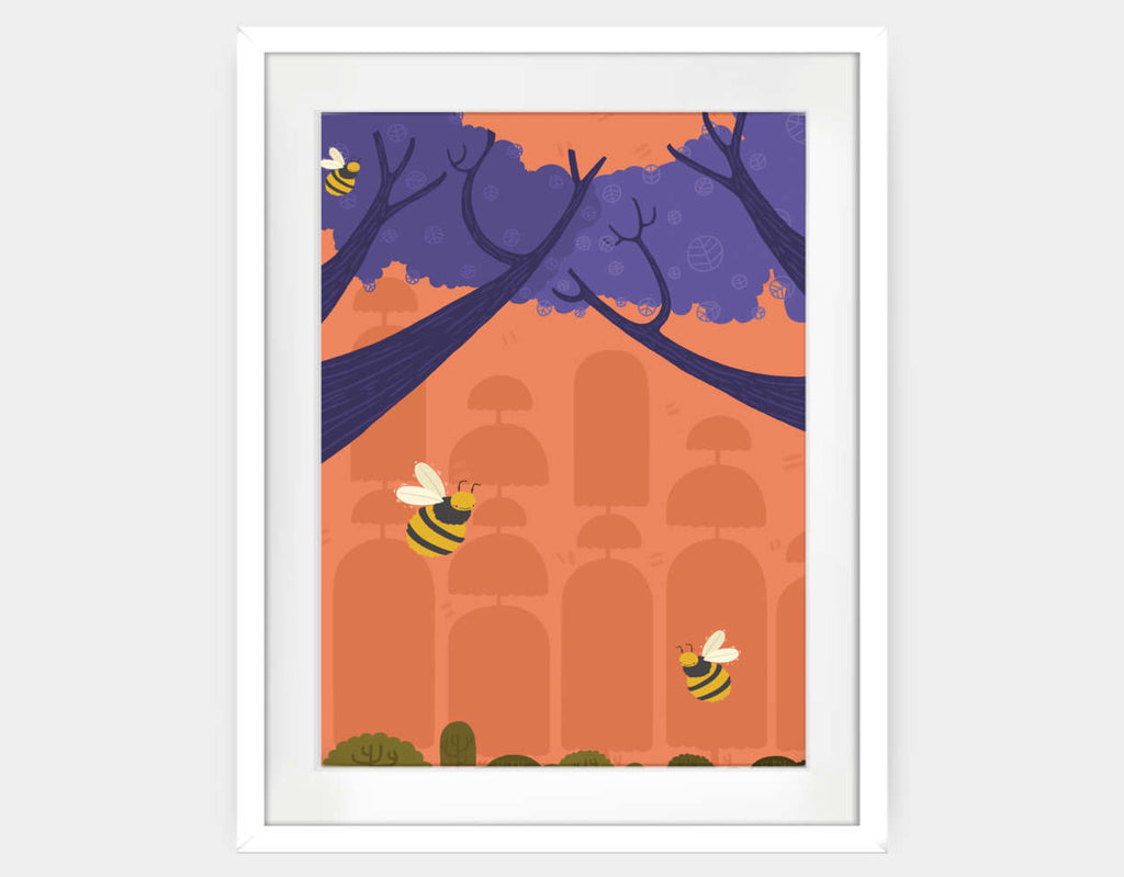 Buzzing Bumblebees Framed Art by Erin McLaughlin - Large / White
