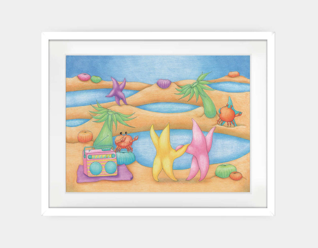 Dancing on the Beach Framed Art by Maura Stockton Wang - Large / White
