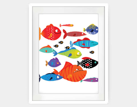 School of Fish Framed Art by Hazel Quintanilla - Large / White