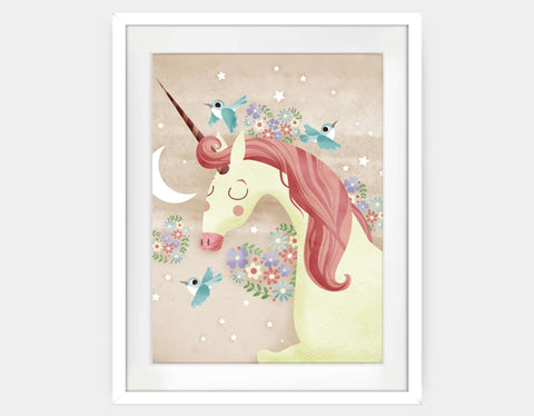Magical Unicorn Framed Art by Valentina Belloni - Large / White