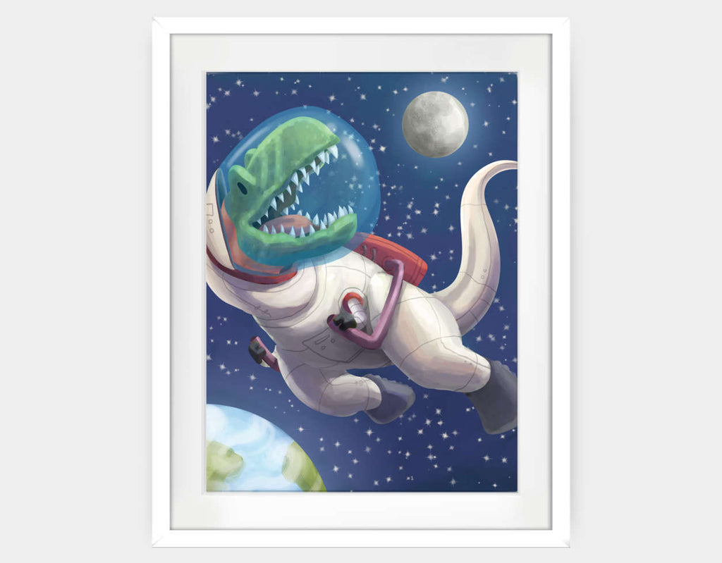 Spacewalk Rex Framed Art by Barry Gott - Large / White