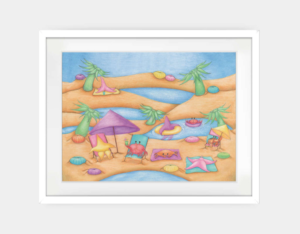 Lounging at the Tide Pool Party Framed Art by Maura Stockton Wang - Large / White
