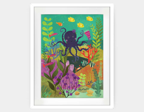 Octopus Garden Framed Art by Amy Schimler-Safford - Large / White