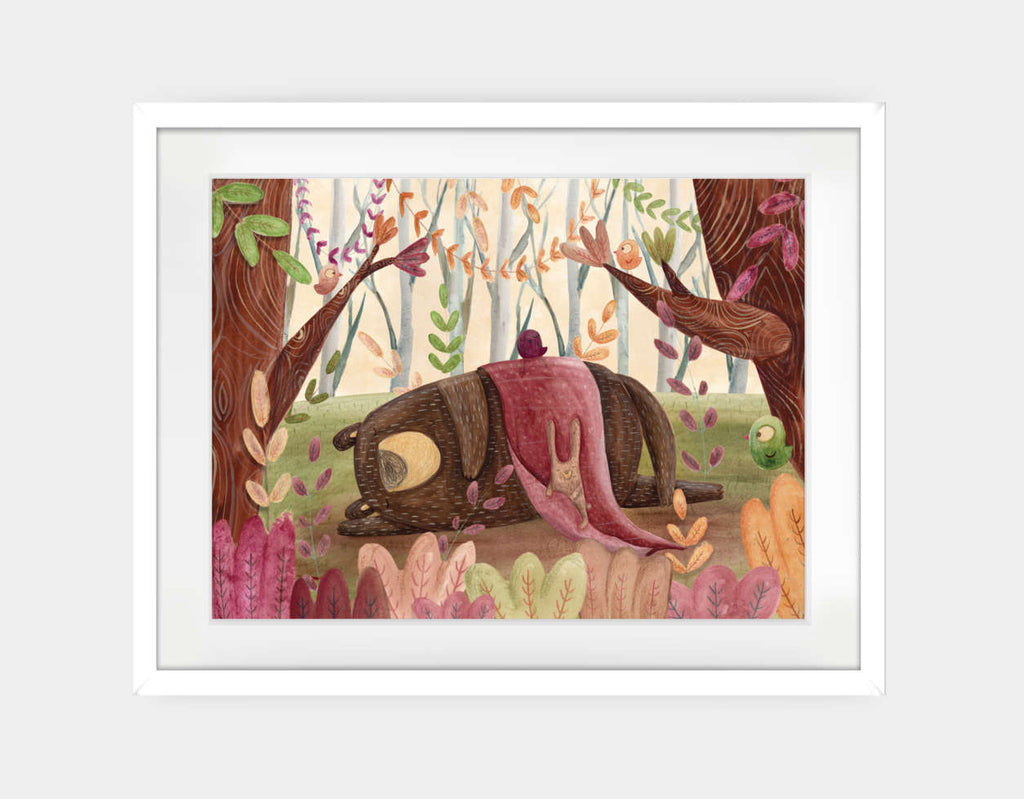 Time to Nap Framed Art by Aleksandra Szmidt - Large / White