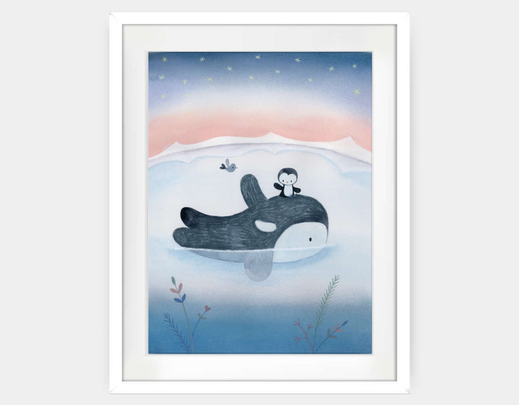 Fun Under Polar Stars Framed Art by Dubravka Kolanovic - Large / White
