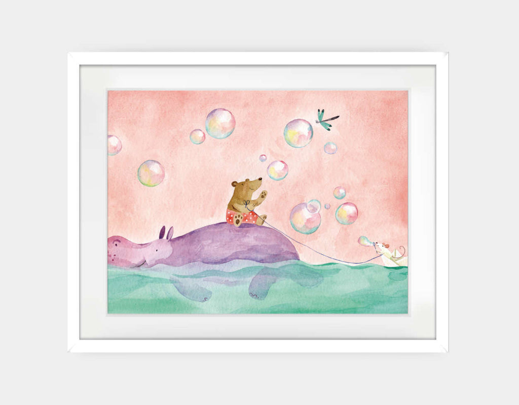 Paper Boat Rider Framed Art by Anna Shuttlewood - Large / White