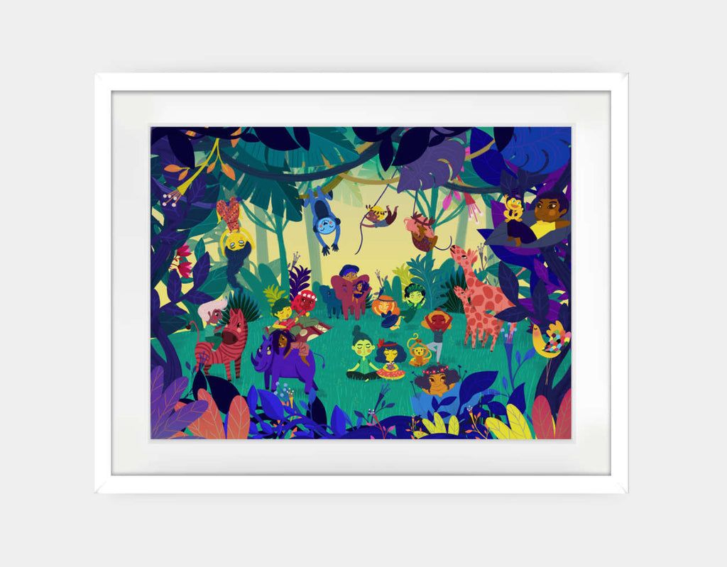 Jungle Celebration Framed Art by Alexandra Petracchi - Large / White