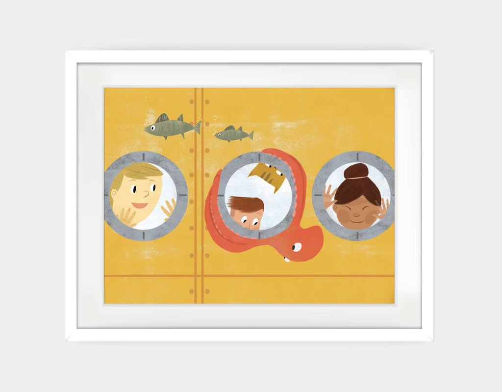 Submarine Adventure Framed Art by Rebecca Huang - Large / White