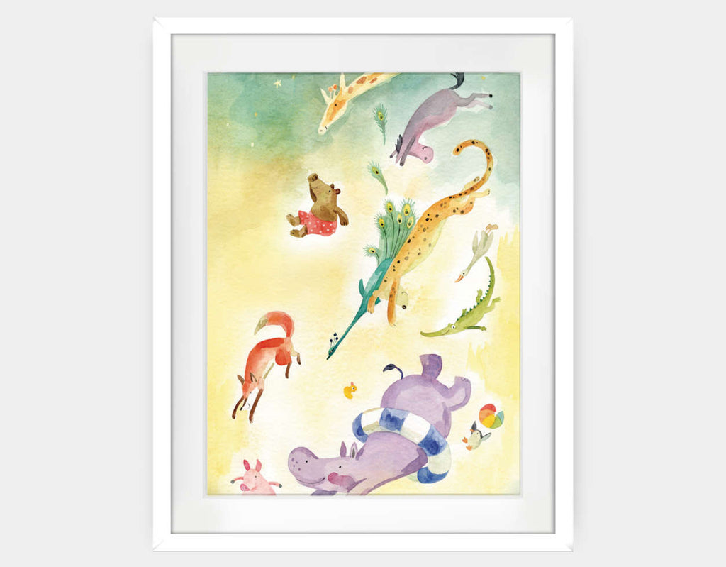 Splish Splash Splosh Framed Art by Anna Shuttlewood - Large / White