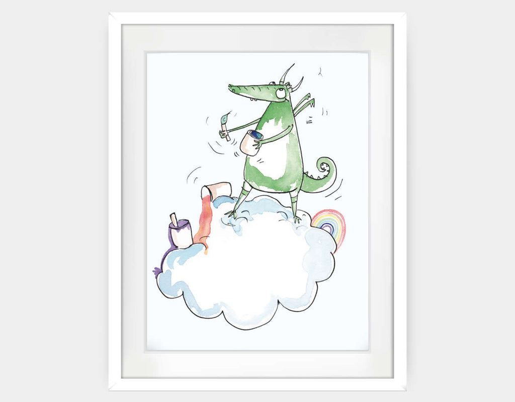 Artistic Dragon Framed Art by Julie Parker - Large / White