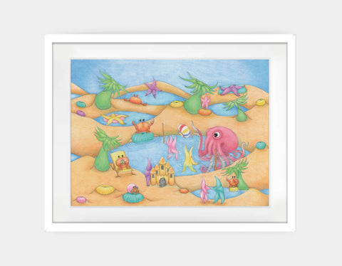 Tide Pool Party Framed Art by Maura Stockton Wang - Large / White