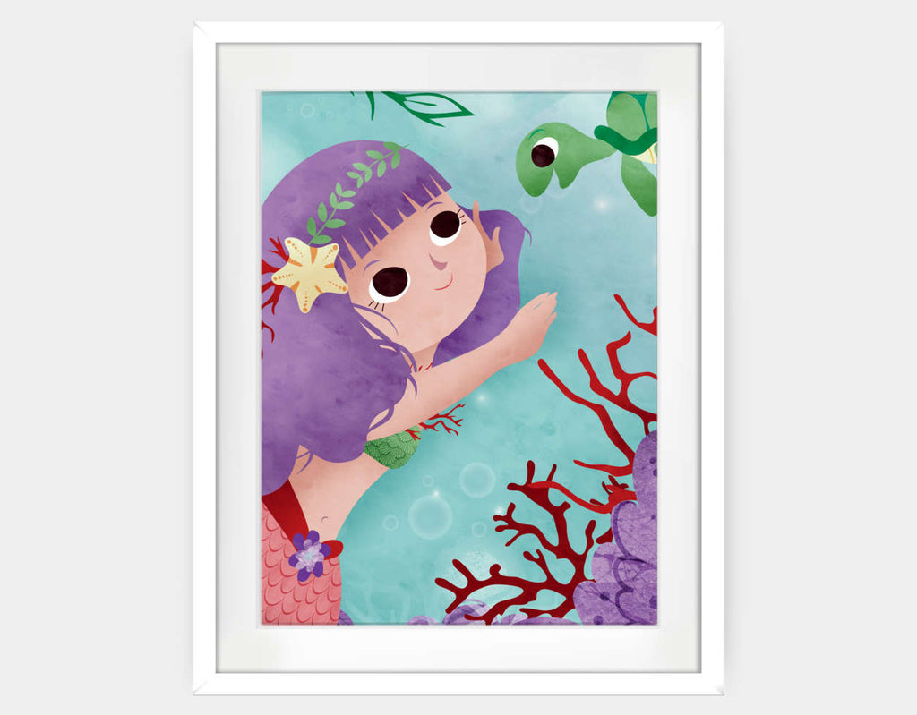 Swimming With a Pretty Turtle Framed Art by Valentina Belloni - Large / White
