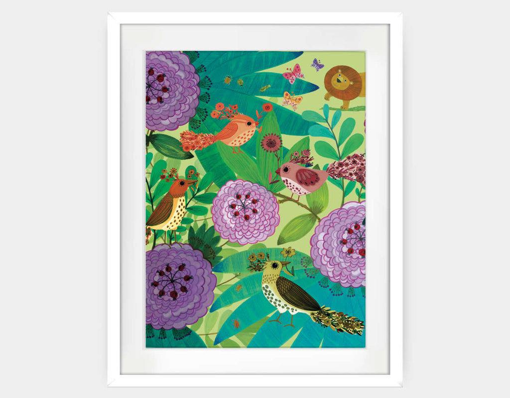 Jungle Birds and the Lion Framed Art by Kay Widdowson - Large / White