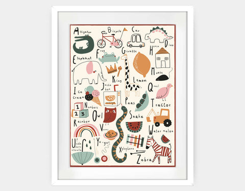 Alphabet Art Print Framed Art by Daisy Green - Large / White
