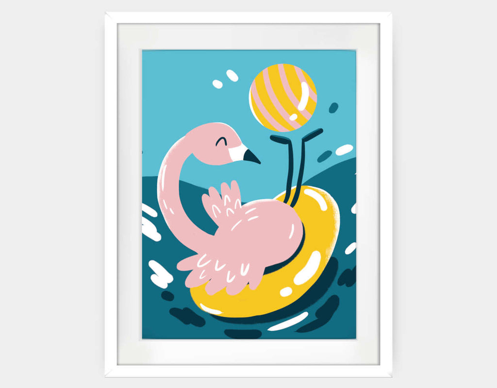 Flamingo at Sea Framed Art by Kelly Breemer - Large / White