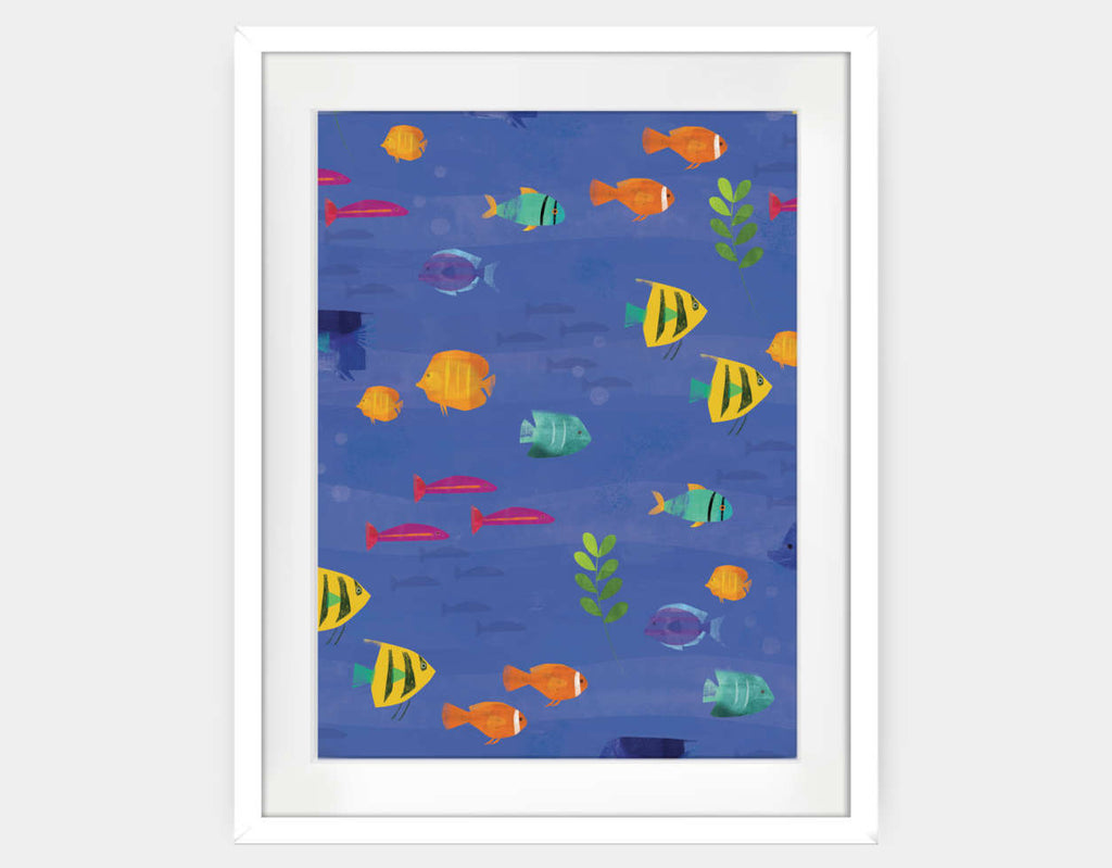 Tropical Fish Framed Art by Amy Schimler-Safford - Large / White
