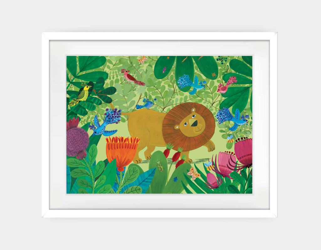 Jungle Stroll Framed Art by Kay Widdowson - Large / White