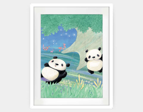 Swinging Pandas Framed Art by Rose Clayton - Large / White