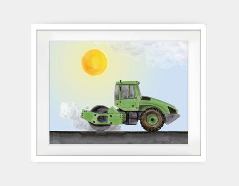 Green Steamroller Framed Art by Brett Blumenthal - Large / White