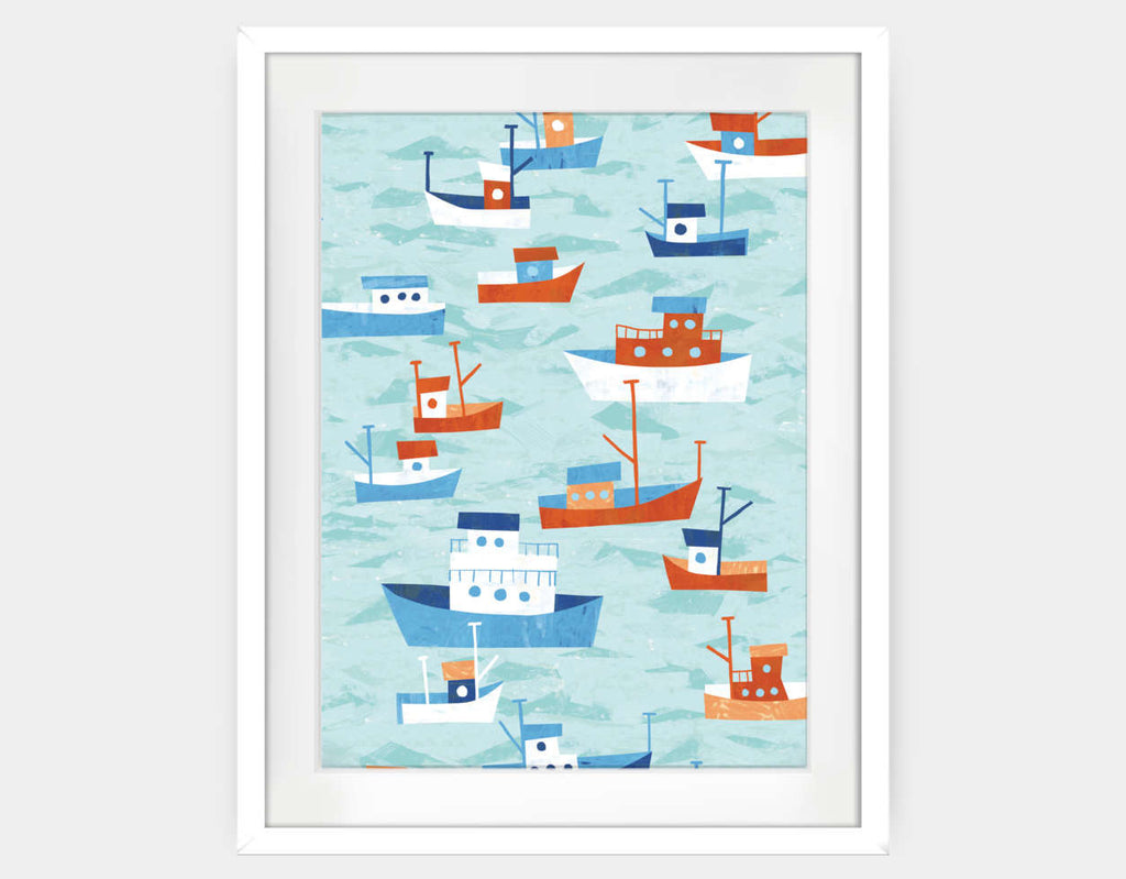 Boats in the Bay Framed Art by Kyle Reed - Large / White