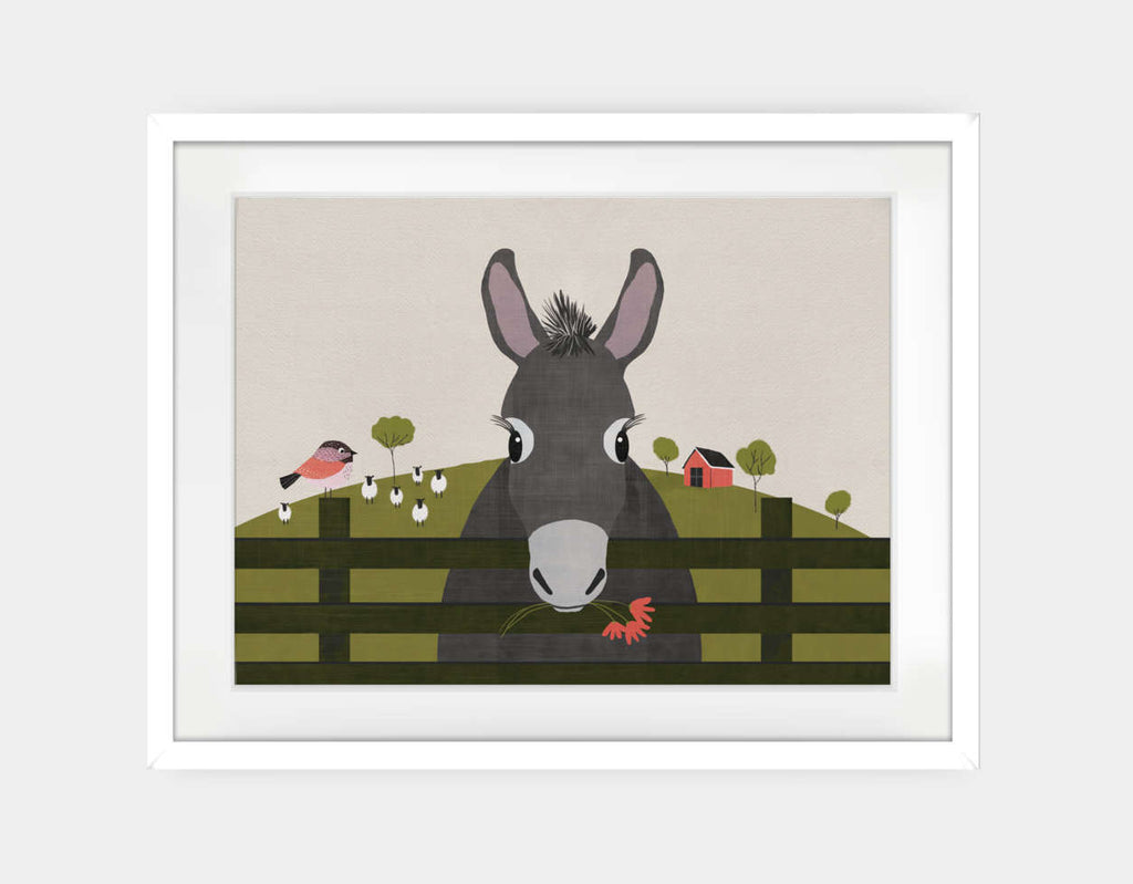 Dolores the Donkey Framed Art by Mel Armstrong - Large / White