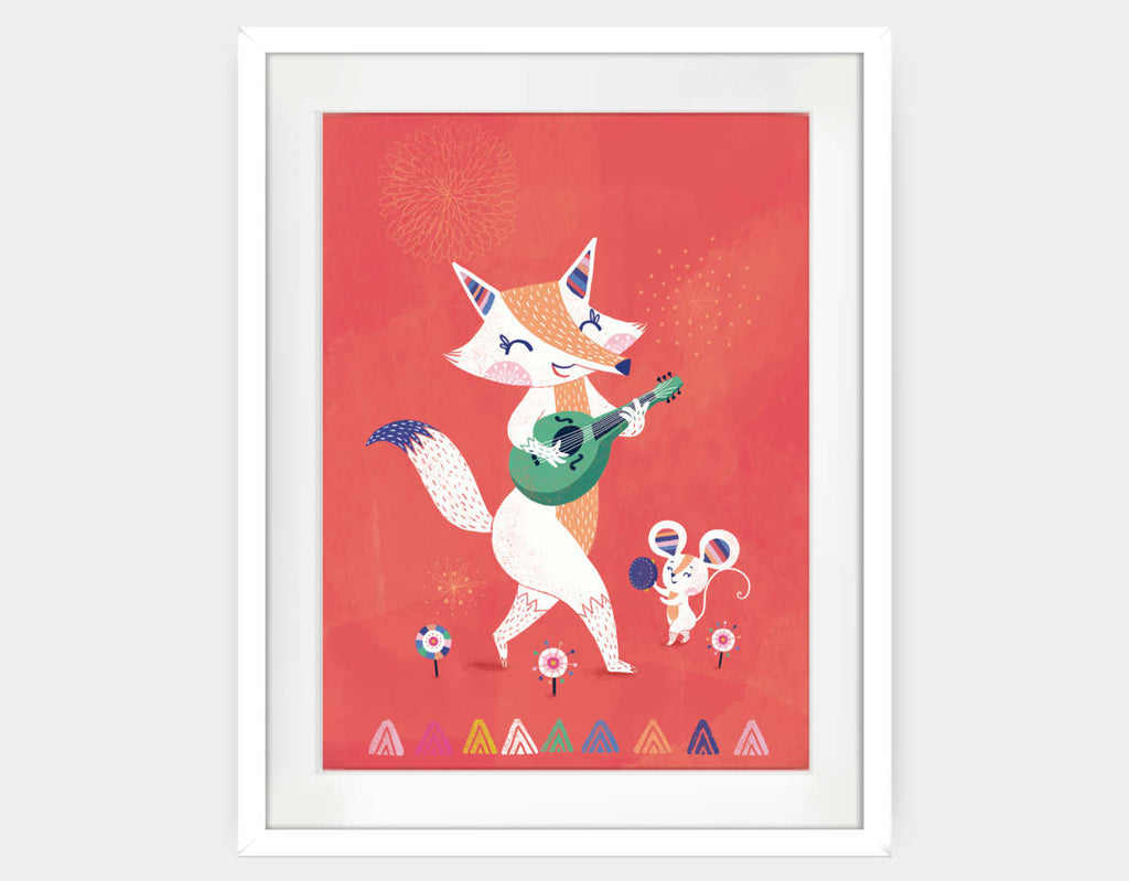 Fox & Mouse Framed Art by Antoana Oreski - Large / White