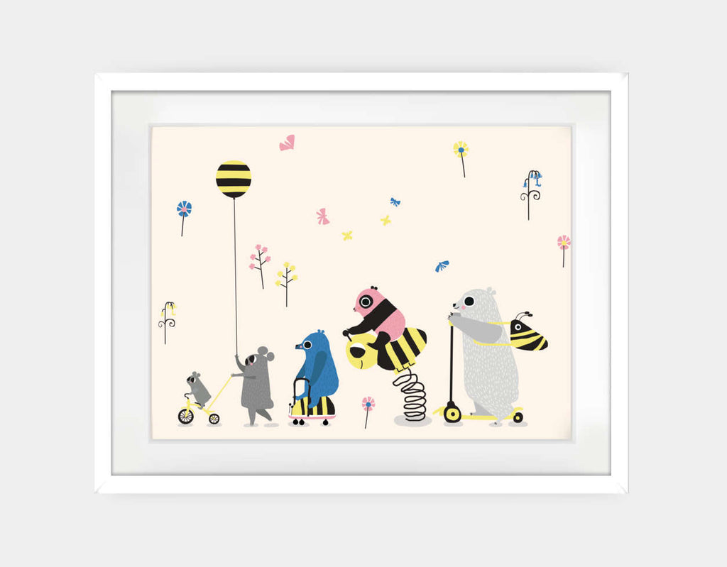 Happy Play Parade Framed Art by Sue Downing - Large / White