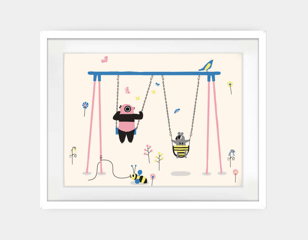 Happy Play Swings Framed Art by Sue Downing - Large / White