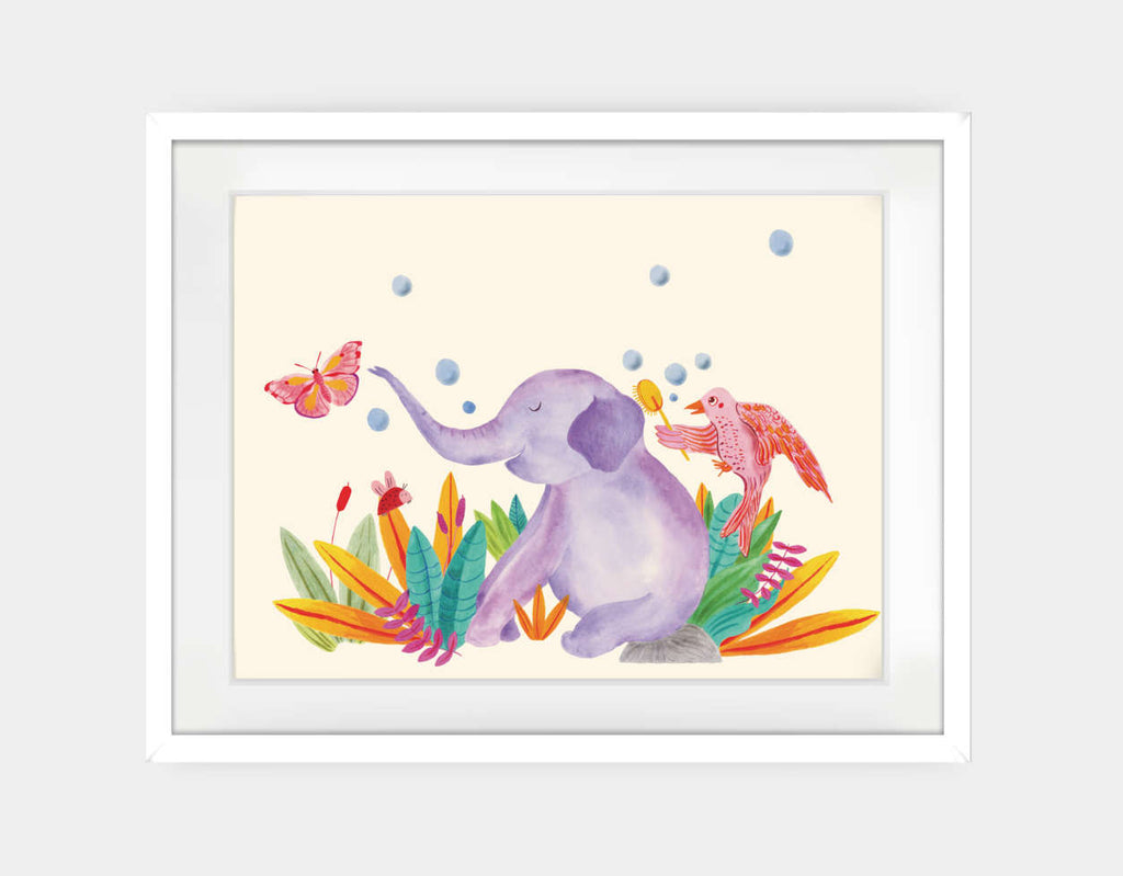 Elephant and Butterfly Framed Art by Betânia Sensini - Large / White