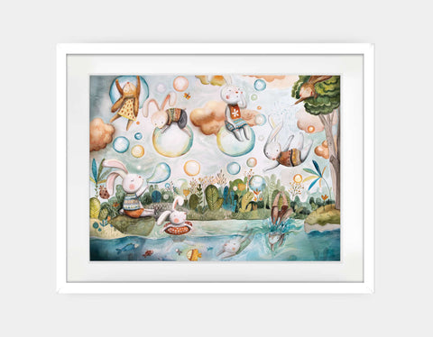 Bubble Land Framed Art by Timea Janos - Large / White