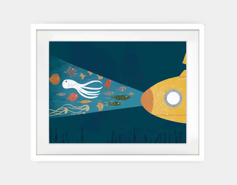 Under the Sea Framed Art by Rebecca Huang - Large / White
