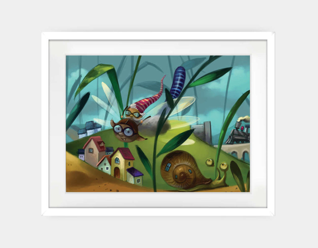 A Buggy Flight Framed Art by Marcin Piwowarski - Large / White