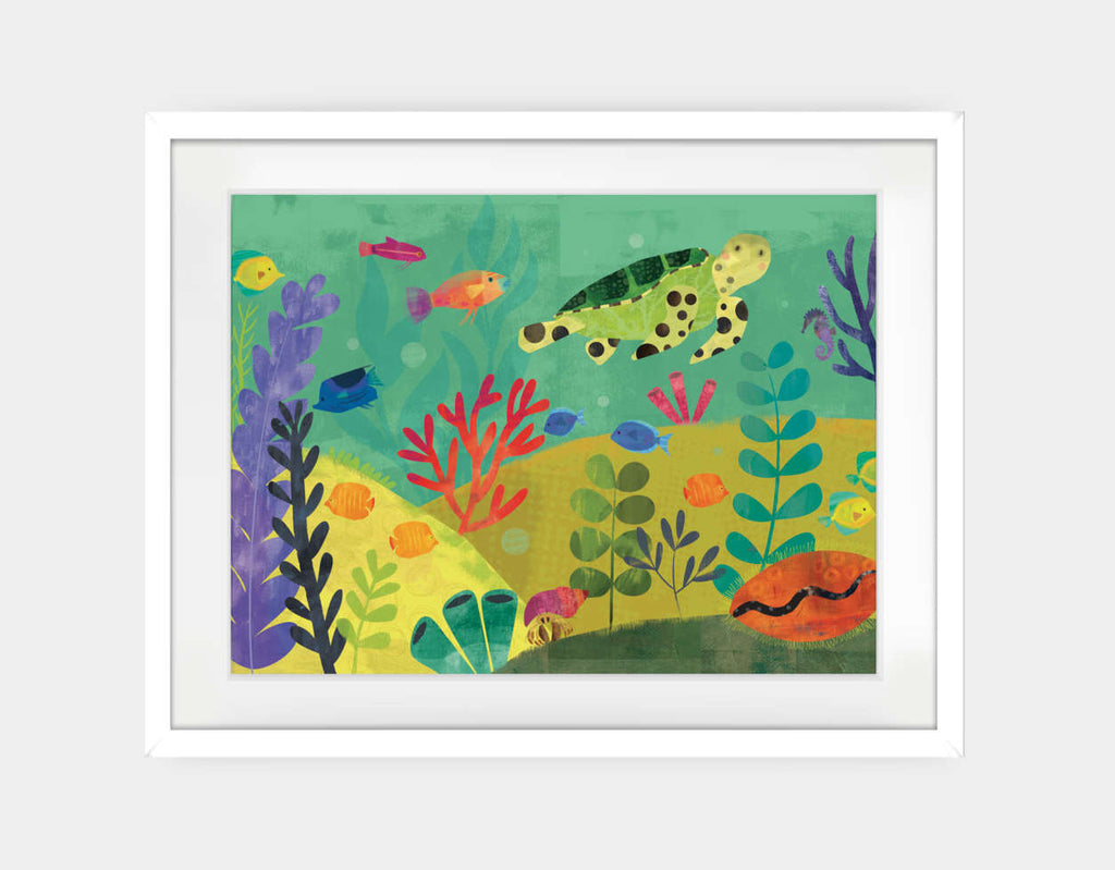 Sea Turtle Reef Framed Art by Amy Schimler-Safford - Large / White