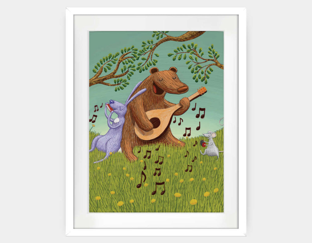 Bear's Jam Session Framed Art by Julia Collard - Large / White