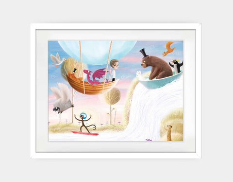 Balloon & Bathtime Ride Framed Art by Patrick S Brooks - Large / White