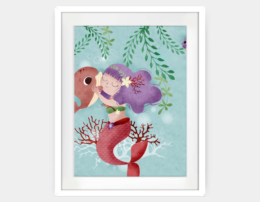 Hug My Little Whale Framed Art by Valentina Belloni - Large / White