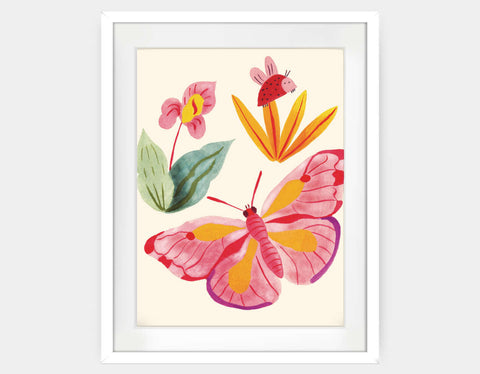 Ladybug and Butterfly Framed Art by Betânia Sensini - Large / White