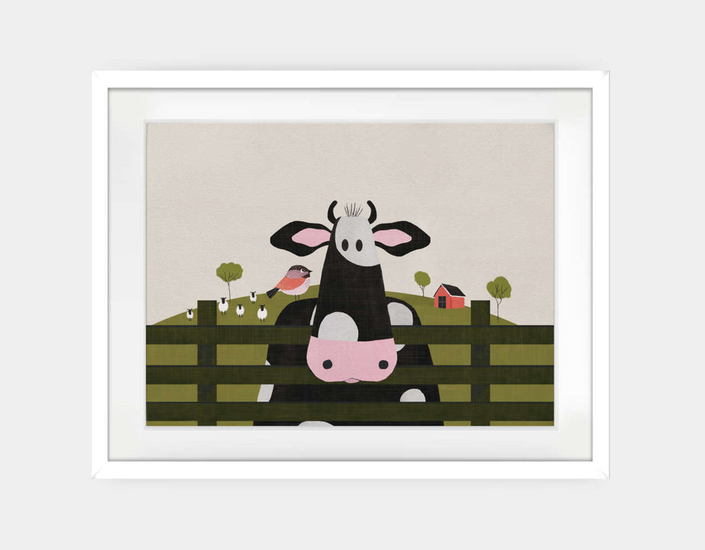 Caley the Cow Framed Art by Mel Armstrong - Large / White
